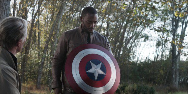 Falcon with Captain America's shield in Avengers Endgame