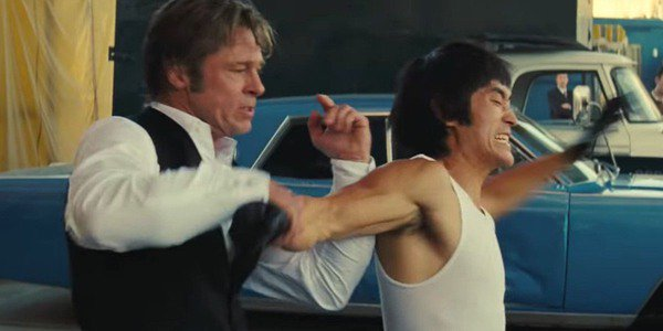 Brad Pitt and Mike Moh as Cliff Booth and Bruce Lee in Once Upon a Time in Hollywood