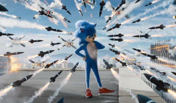 Sonic The Hedgehog waits for the rockets to get closer