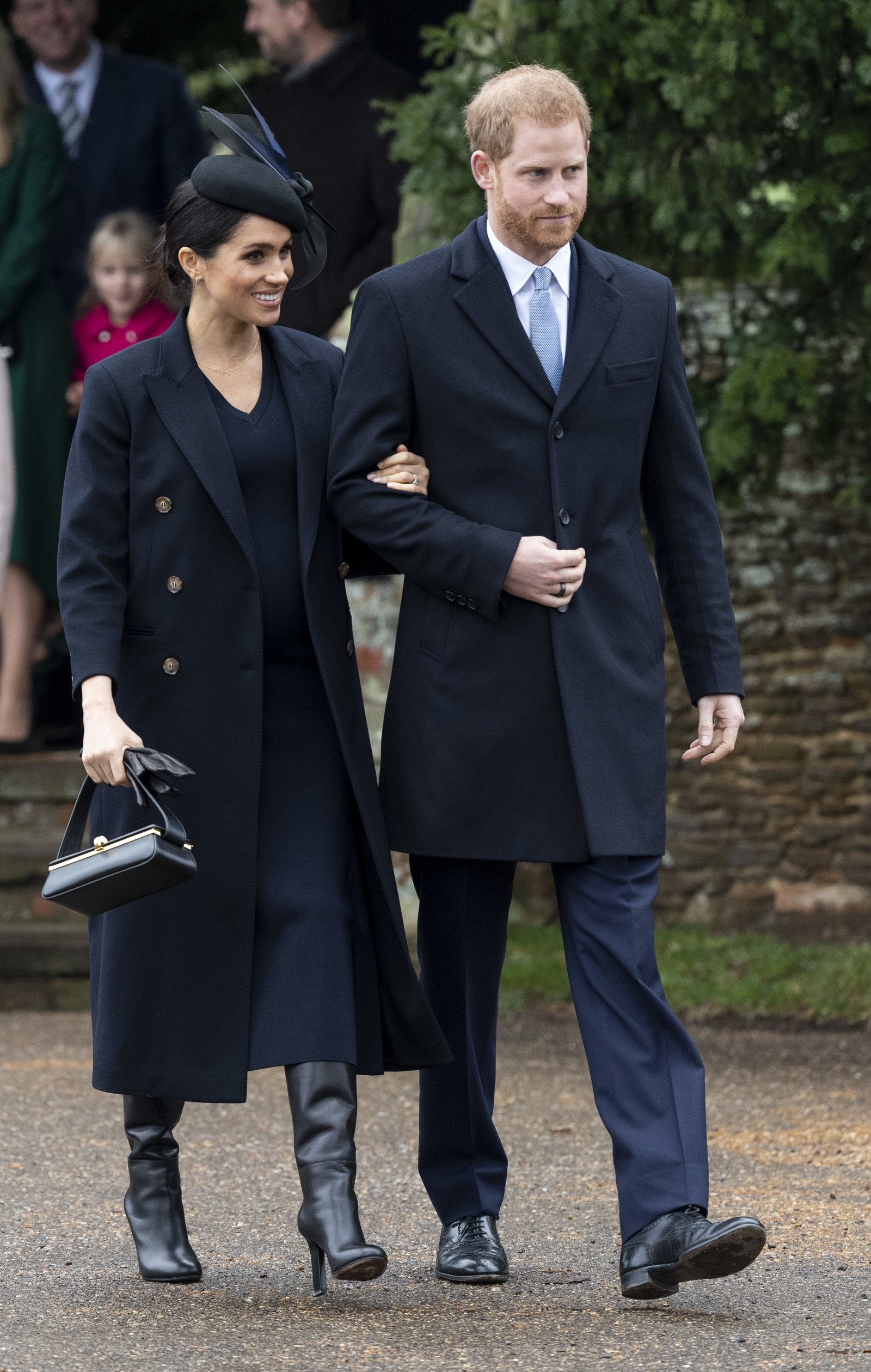 Royal Tradition Prince Harry Duke of Sussex and Meghan Duchess of Sussex attend Christmas Day Church service at Church...