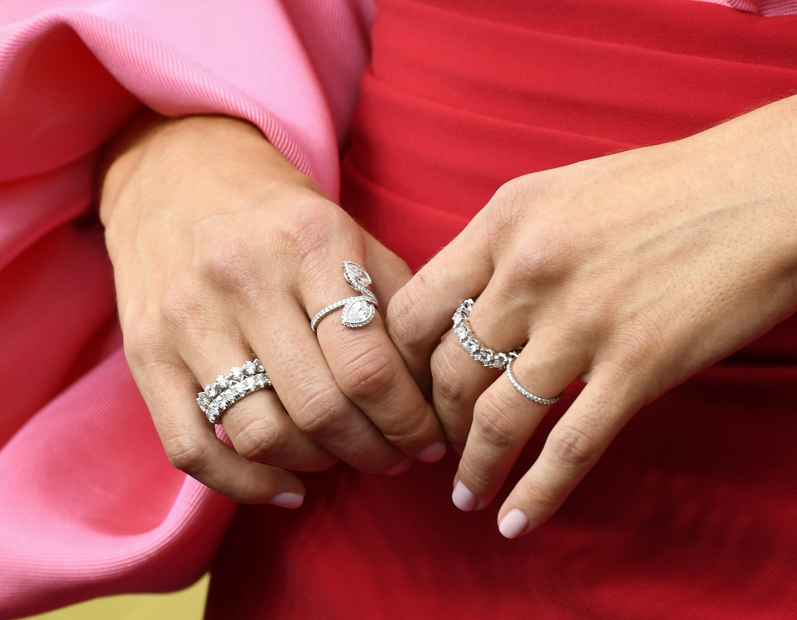 LOS ANGELES CALIFORNIA SEPTEMBER 22 Mandy Moore jewelry detail attends the 71st Emmy Awards at Microsoft Theater on...