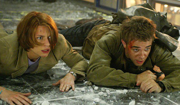 Terminator 3: Rise of the Machines Katherine Brewster and John Connor duck from an attack