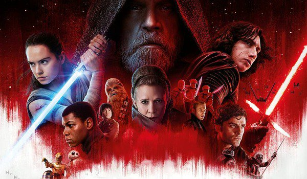 Star Wars: The Last Jedi Rey and Kylo flank the rest of the cast