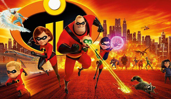 Incredibles 2 the family runs into action with the logo and explosions behind them