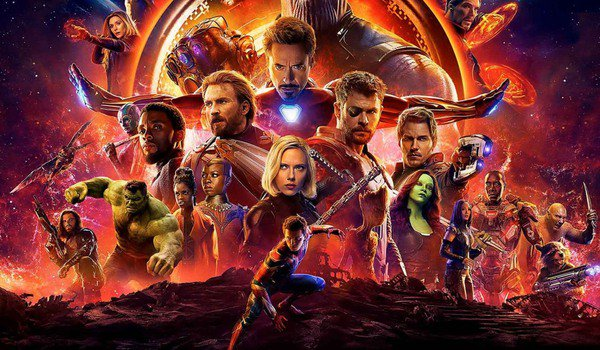 Avengers: Infinity War the hero roster in front of glowing fires
