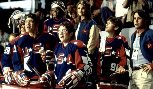 D2: The Mighty Ducks Coach Gordon and his players watch the action from the box