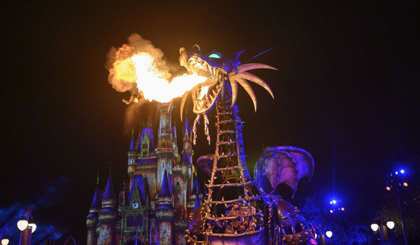 Maleficent Dragon parade float breathing fire