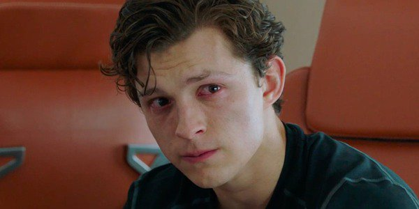 Spider-Man: Far From Home Peter crying on the jet