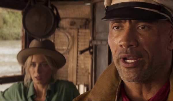 Disney's Jungle Cruise Emily Blunt and Dwayne Johnson banter on their boat