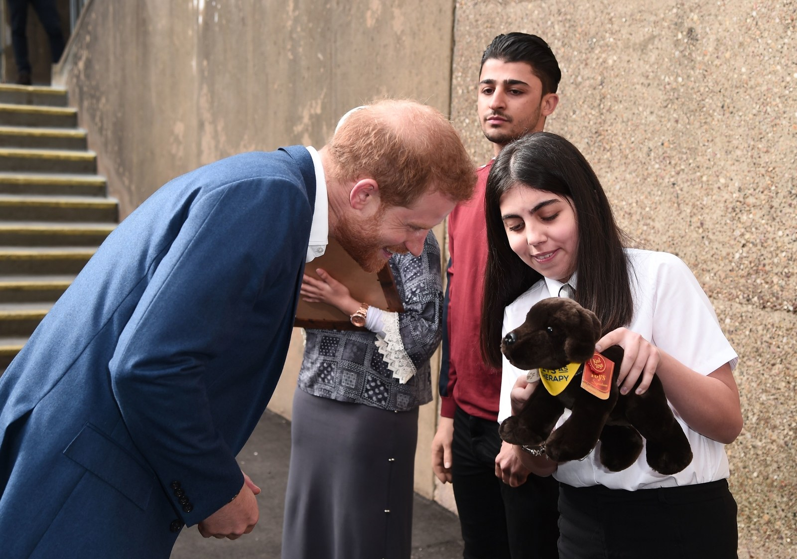 Britain's Prince Harry Duke of Sussex meets Meghan Markle's pen pal during a visit to Nottingham.
