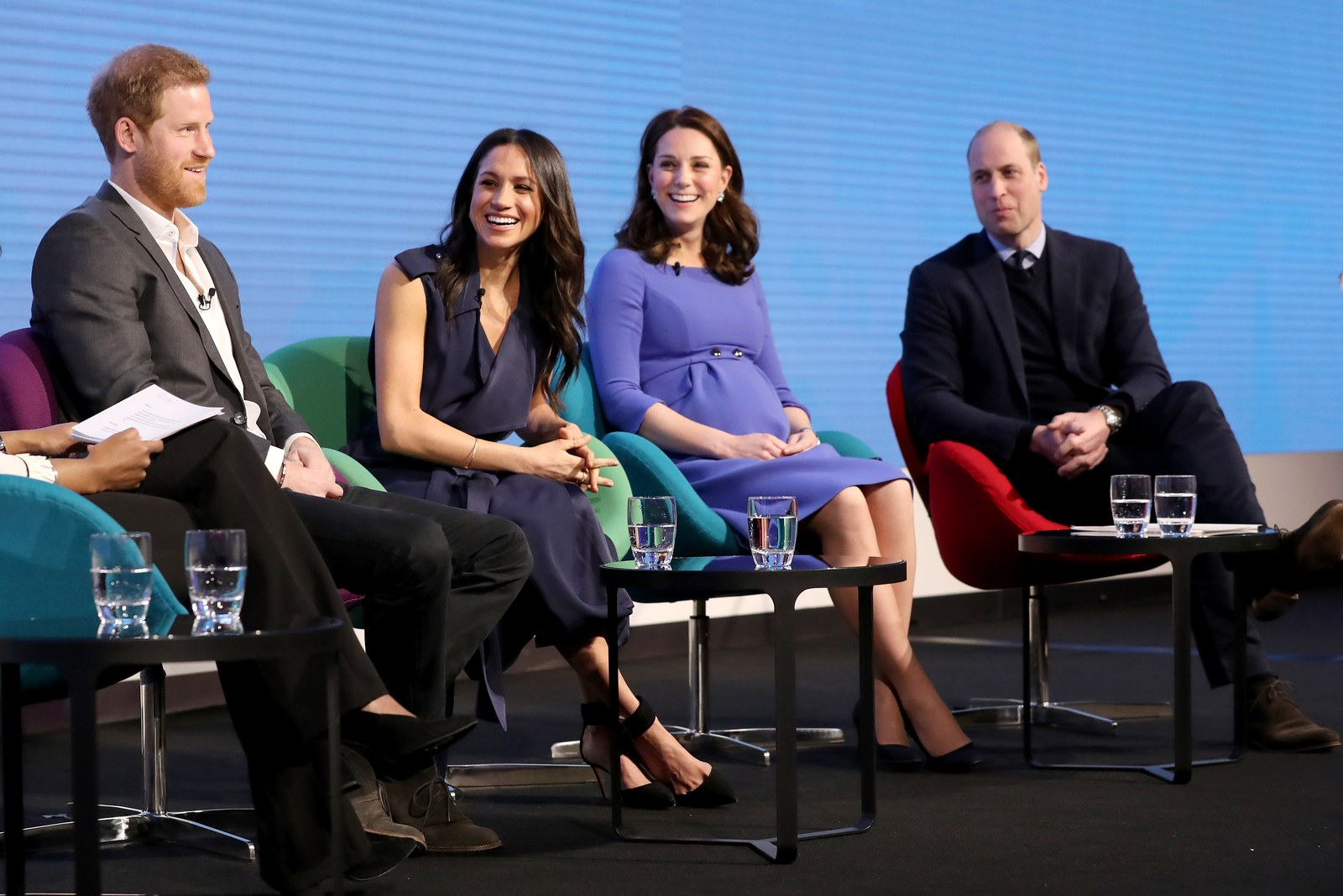 Prince Harry Meghan Markle Catherine and Prince William during a forum.