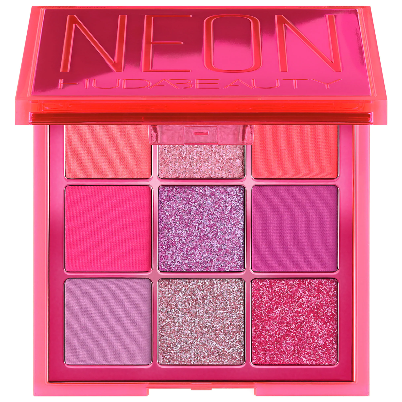 Huda Beauty Neon Obsessions Pallet in shades of pink and purple