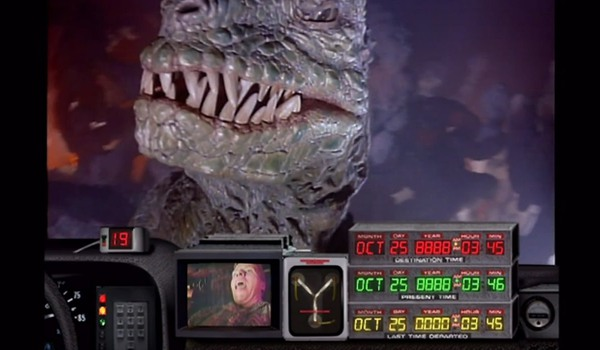 Back To The Future: The Ride a dinosaur sneers in front of Biff's time machine