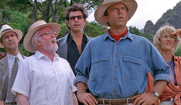 Jurassic Park Hammond and his guests look out at the park
