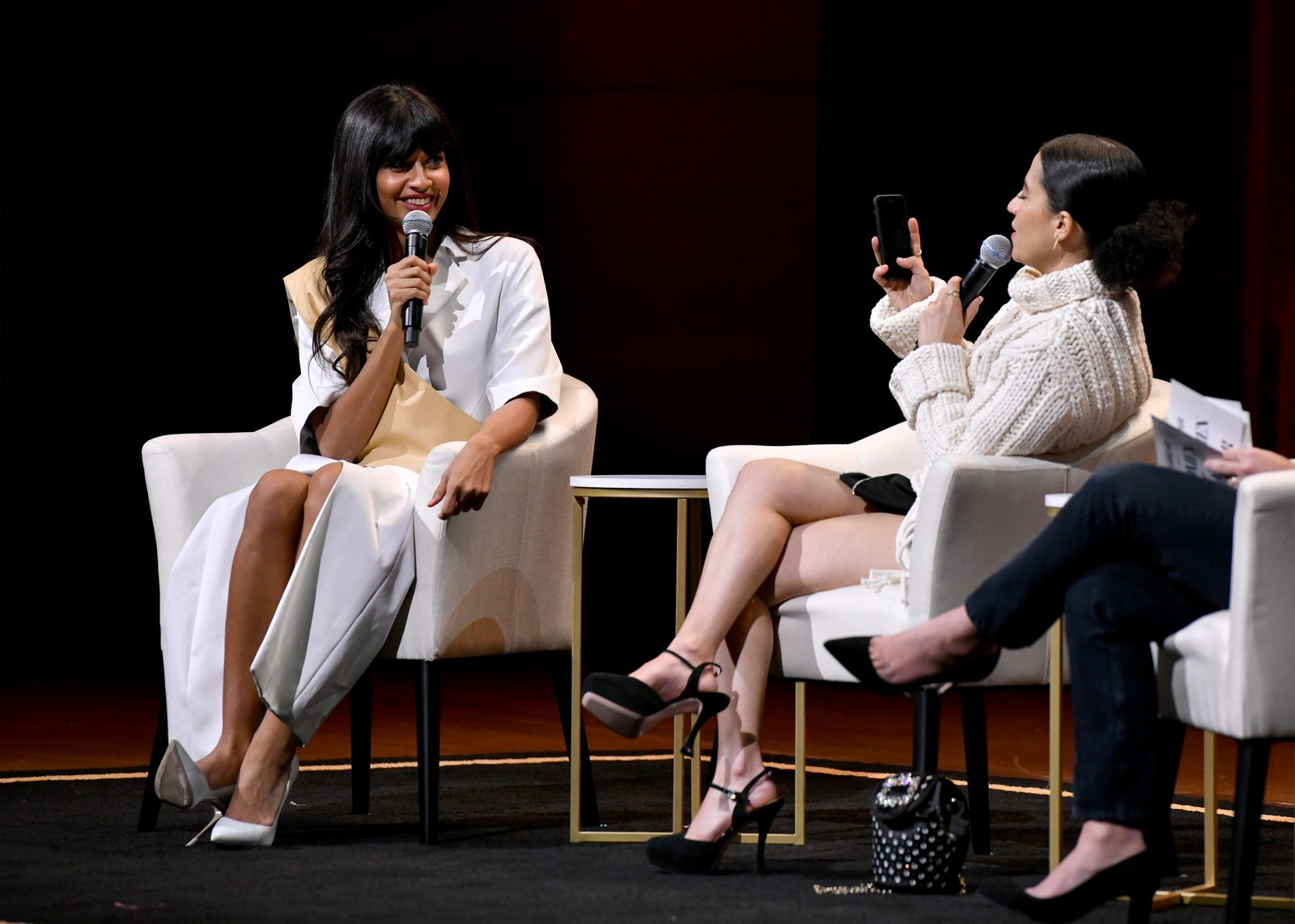 Jameela Jamil and Ilana Glazer speak onstage during the Way More Than Funny panel at the 2019 Glamour Women Of The Year...