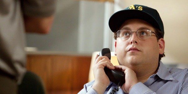 Jonah Hill on the phone in Moneyball