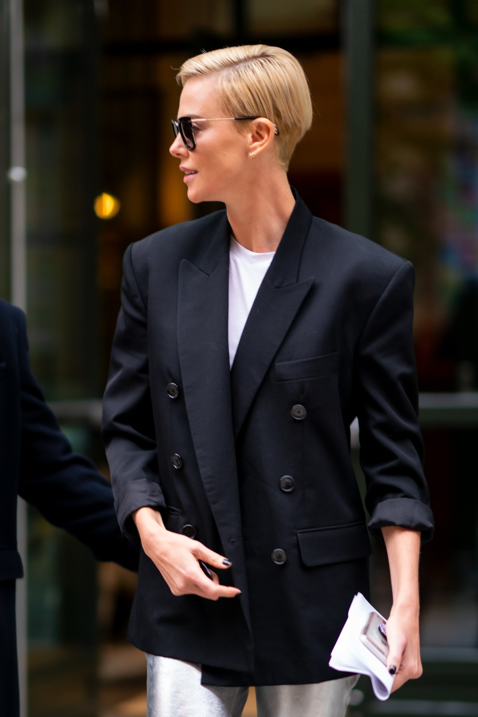 Charlize Theron is seen in SoHo on November 12 2019 in New York City.
