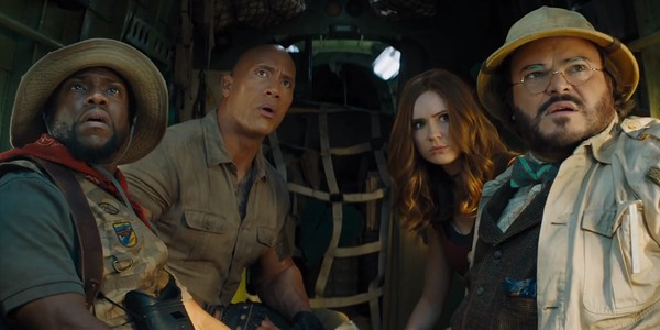 Kevin Hart Dwayne Johnson Karen Gillan and Jack Black in Jumanji: The Next Level