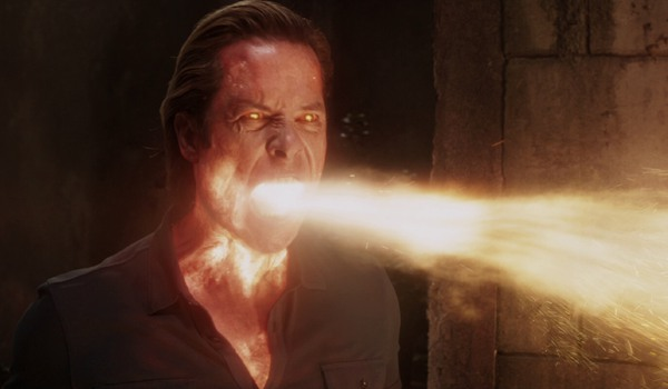 Iron Man 3 Aldrich Killian breathing fire in his dungeon