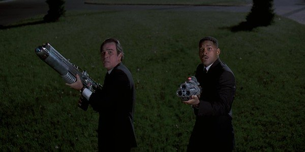 Tommy Lee Jones and Will Smith bring out the big guns in Men In Black
