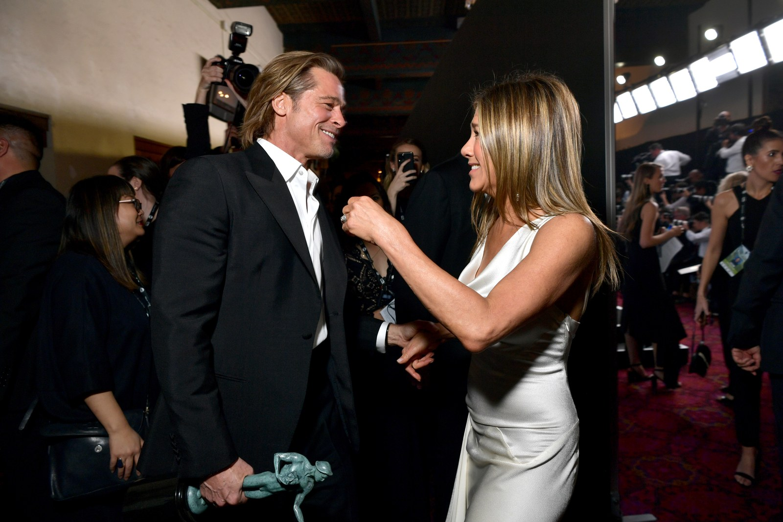 Brad Pitt and Jennifer Aniston attend the 26th Annual Screen Actors Guild Awards at The Shrine Auditorium on January 19...