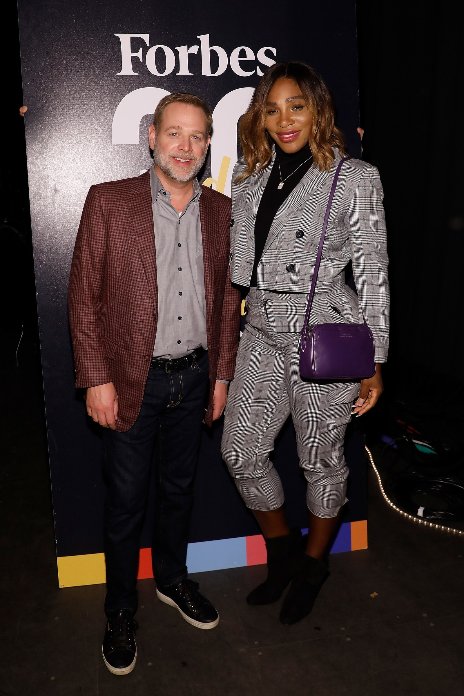 Serena Williams outfit Serena Williams wears a plaid suit at an event