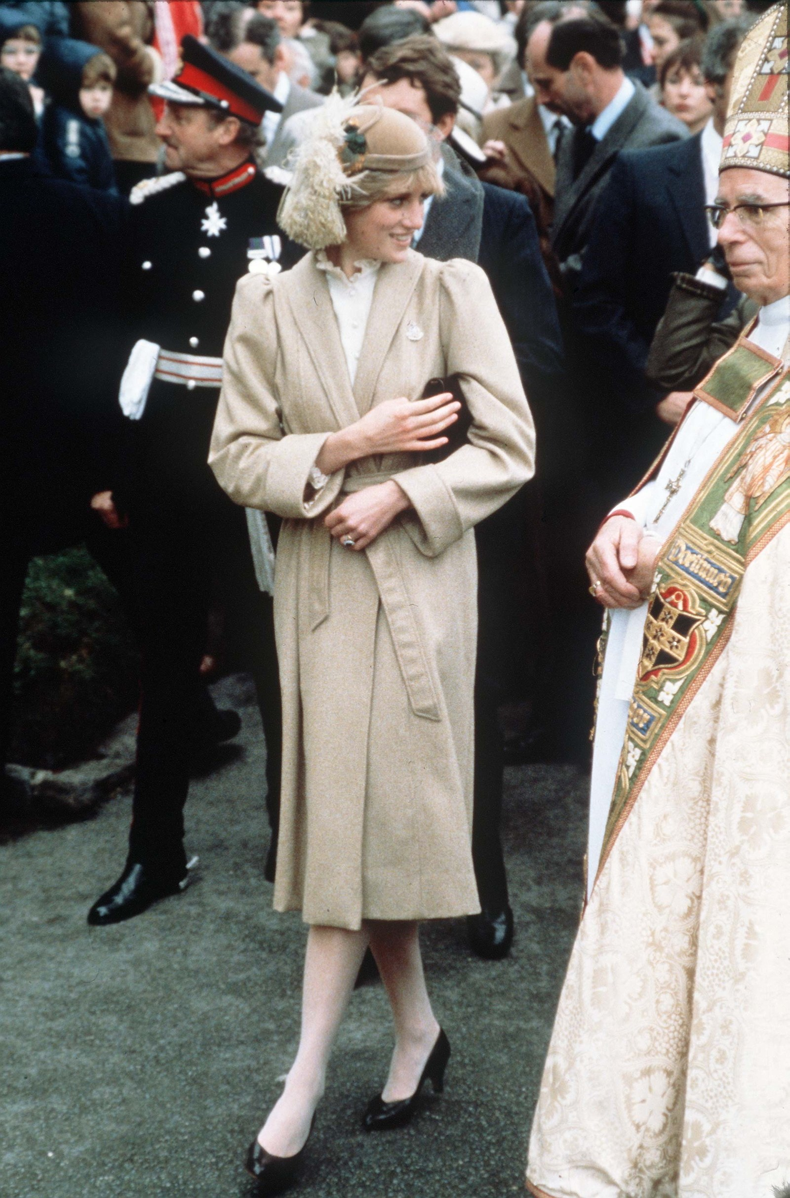 Diana Princess Of Wales Meeting The Crowds On A Wet Day In Carmarthen During Her First Official Visit To Wales.