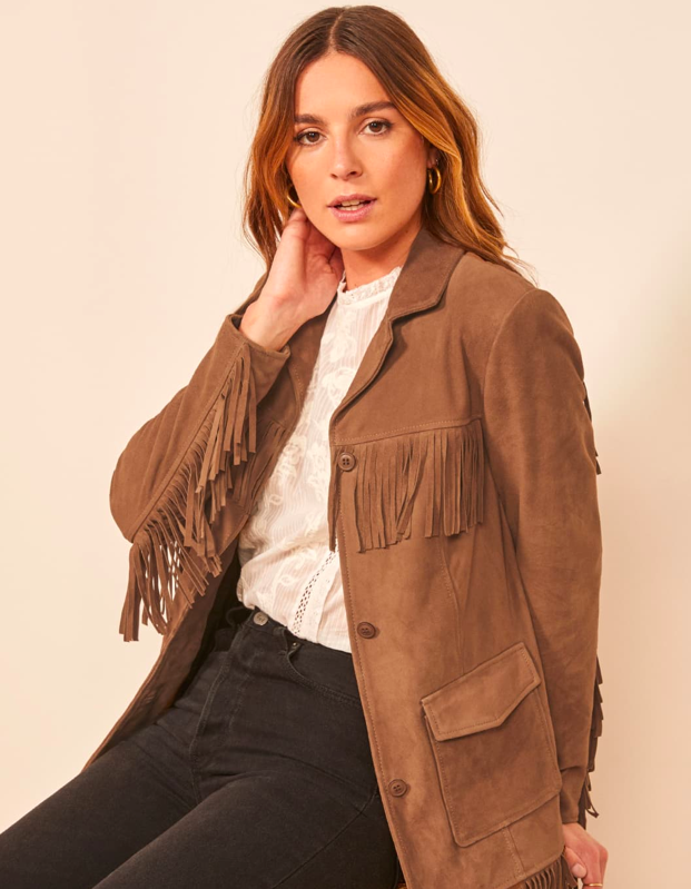 model wearing brown suede jacket
