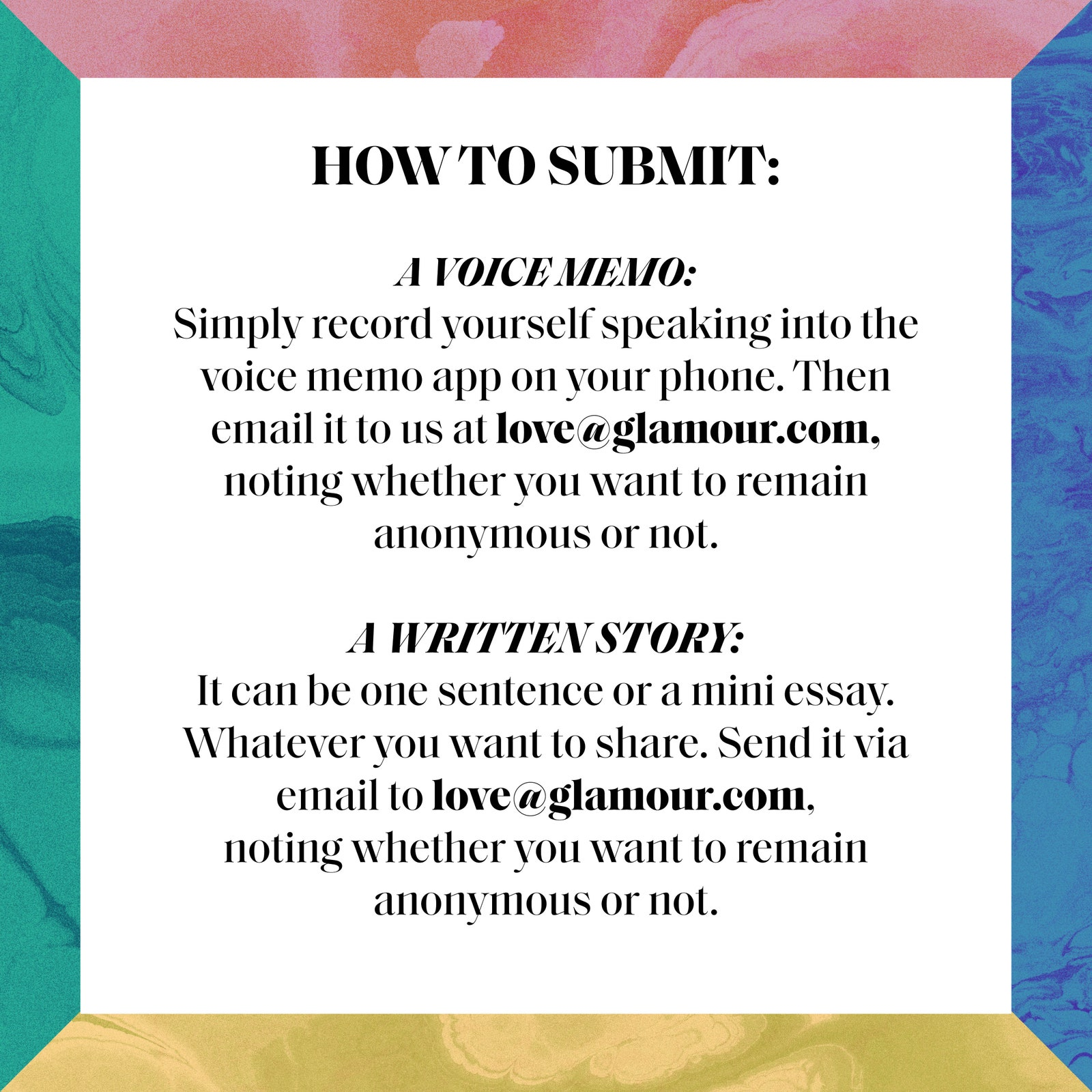 how to share your story with Glamour