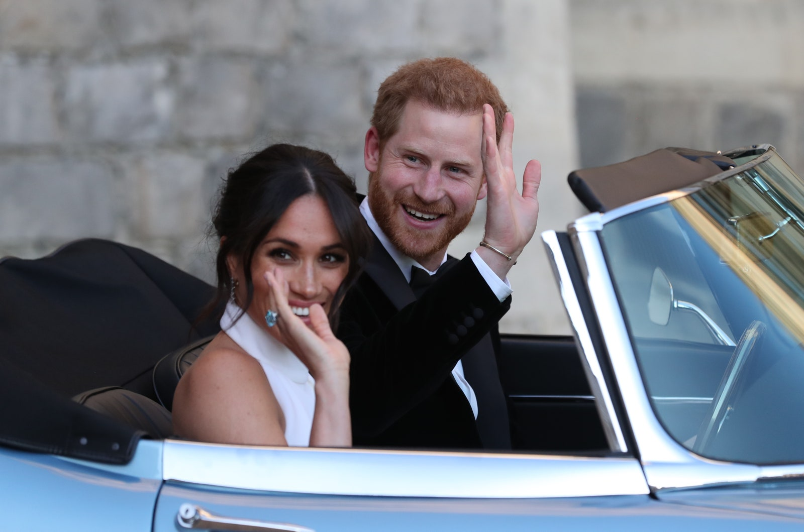 Meghan Markle and Prince Harry head to their evening wedding reception.