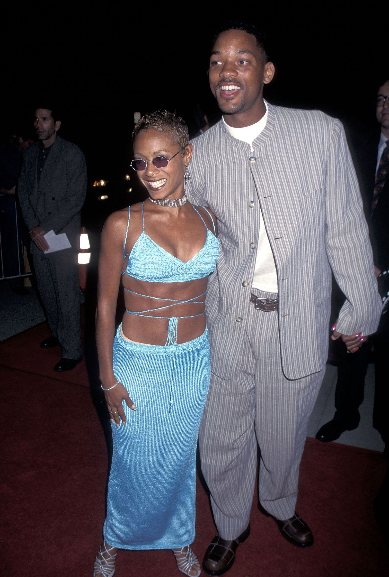 Actress Jada Pinkett and actor Will Smith attend the Devil in a Blue Dress Beverly Hills Premiere on September 22 1995
