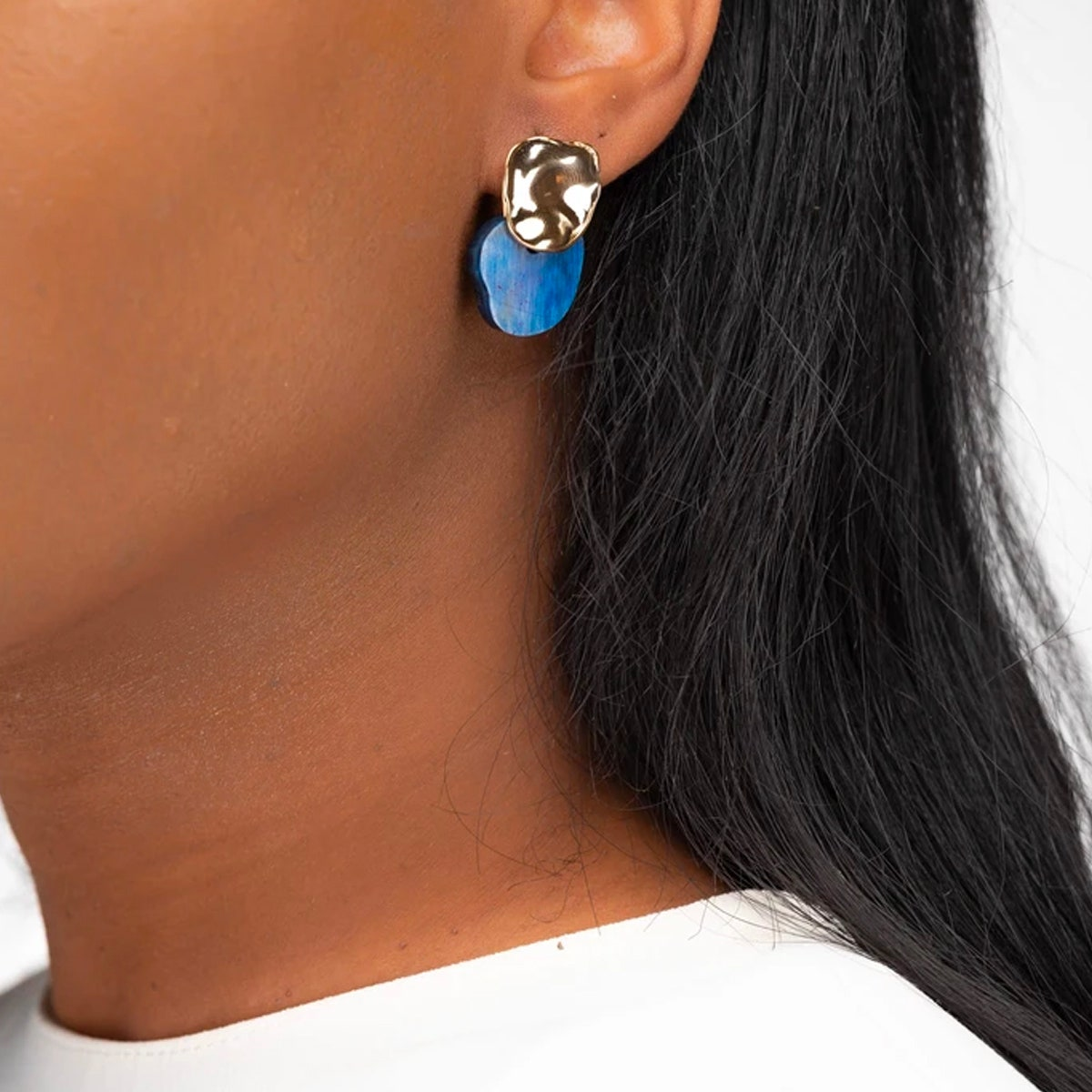Akola Elisa Small Drop Earring in Navy Horn