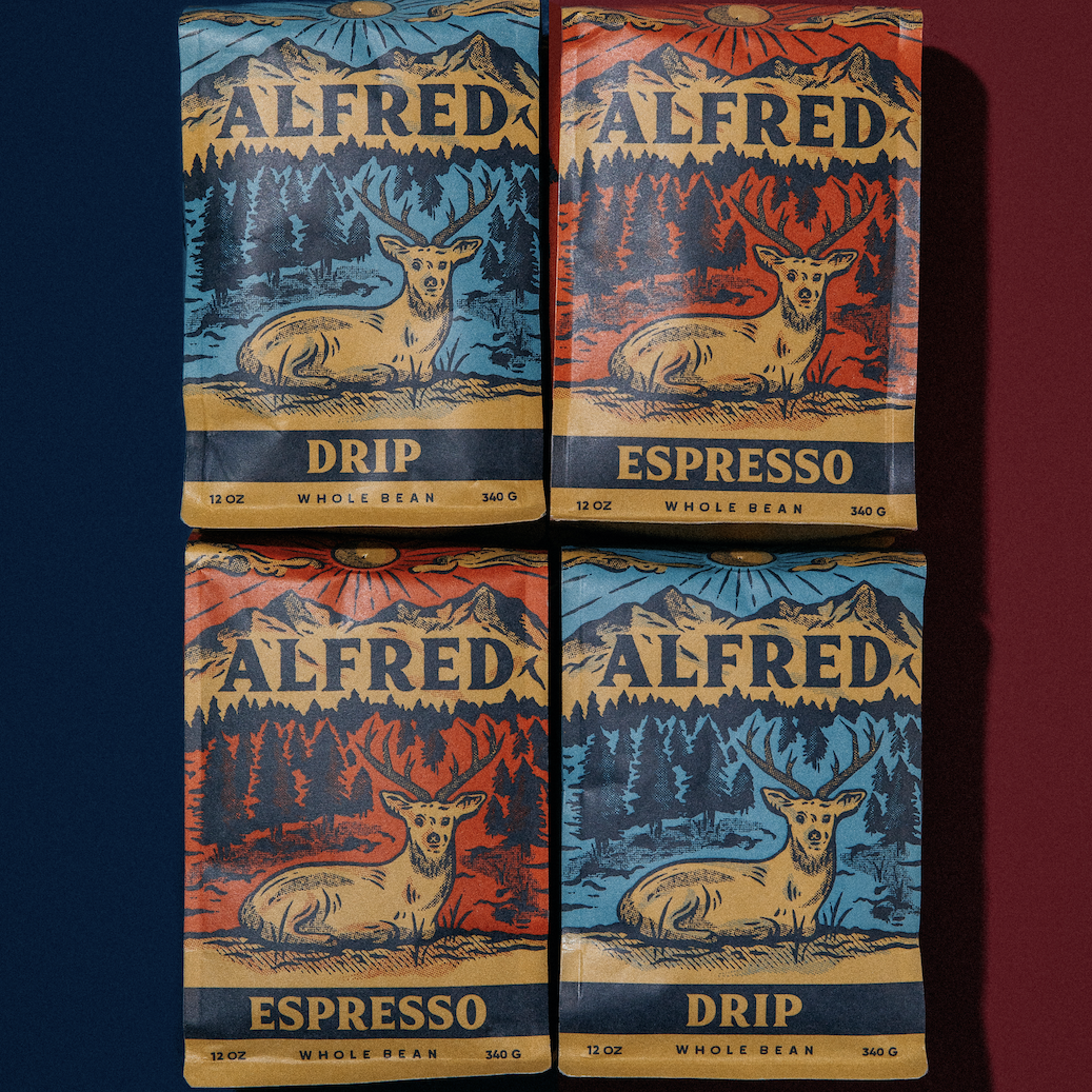 Four bags of Alfred coffee subscription