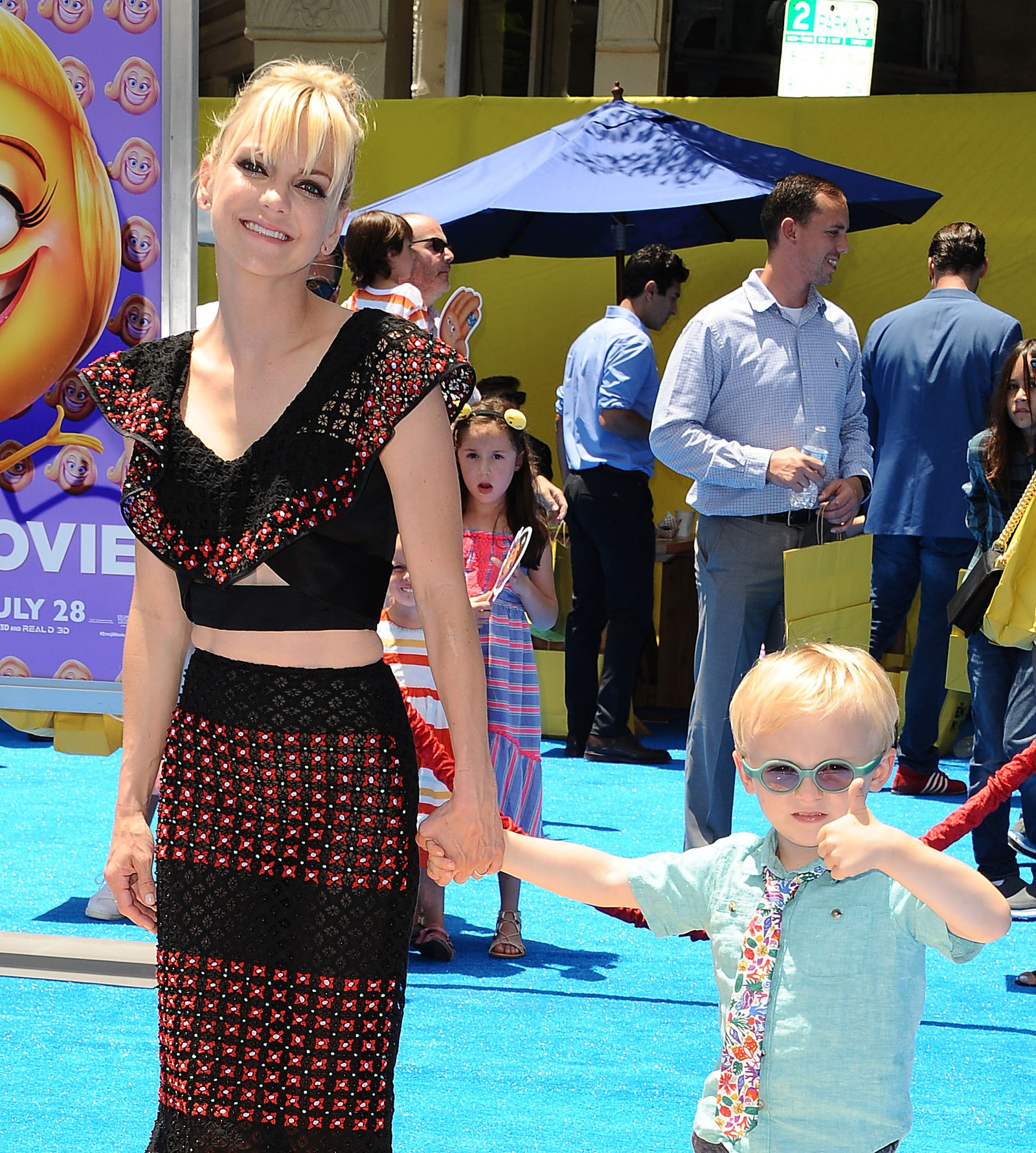 WESTWOOD CA JULY 23 Actress Anna Faris and son Jack Pratt attend the premiere of The Emoji Movie at Regency Village...