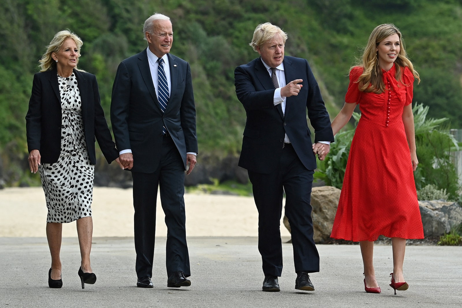 British Prime Minister Boris Johnson and his wife Carrie Johnson walk with U.S. President Joe Biden and First Lady Jill...