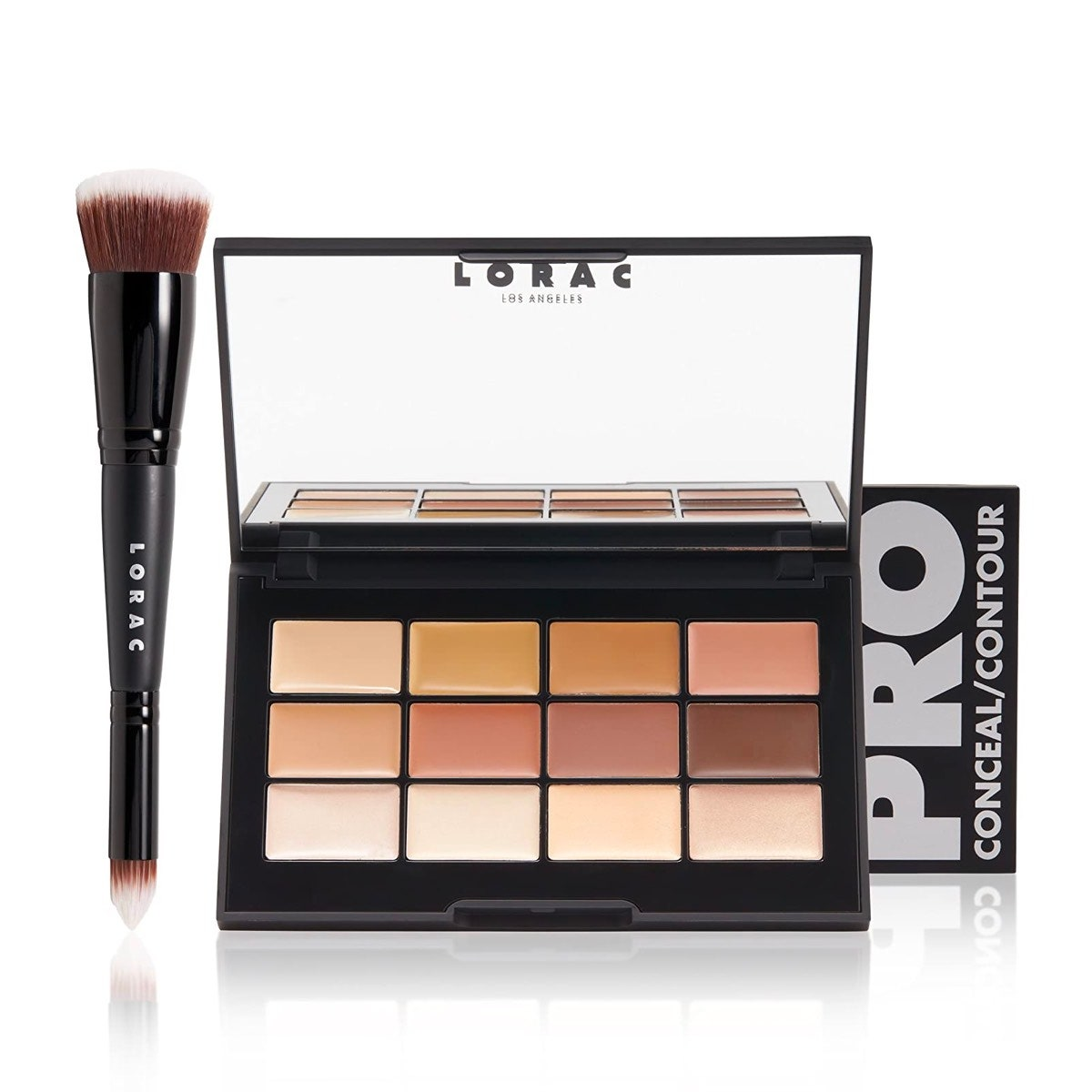 A palette of LORAC Pro Conceal/Contour and brush on a white background