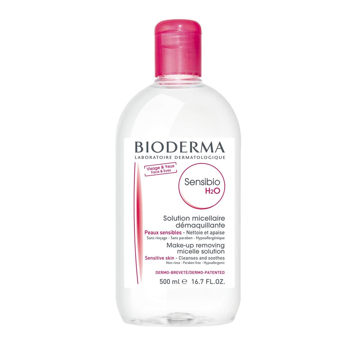 A bottle of Bioderma Sensibio H2O Soothing Micellar Cleansing Water and Makeup Removing Solution for Sensitive Skin on a white background
