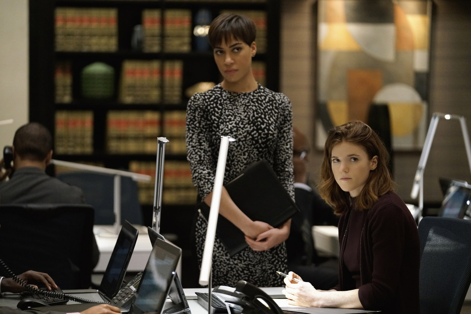 LOS ANGELES NOVEMBER 21 Episodic coverage of THE GOOD FIGHT. Pictured Cush Jumbo as Lucca Quinn Rose Leslie as Maia...