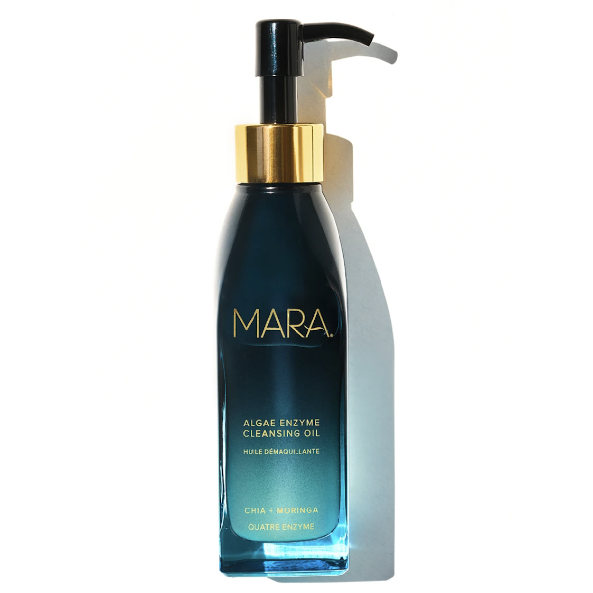 MARA Cleansing Oil, blue and teal clear bottle