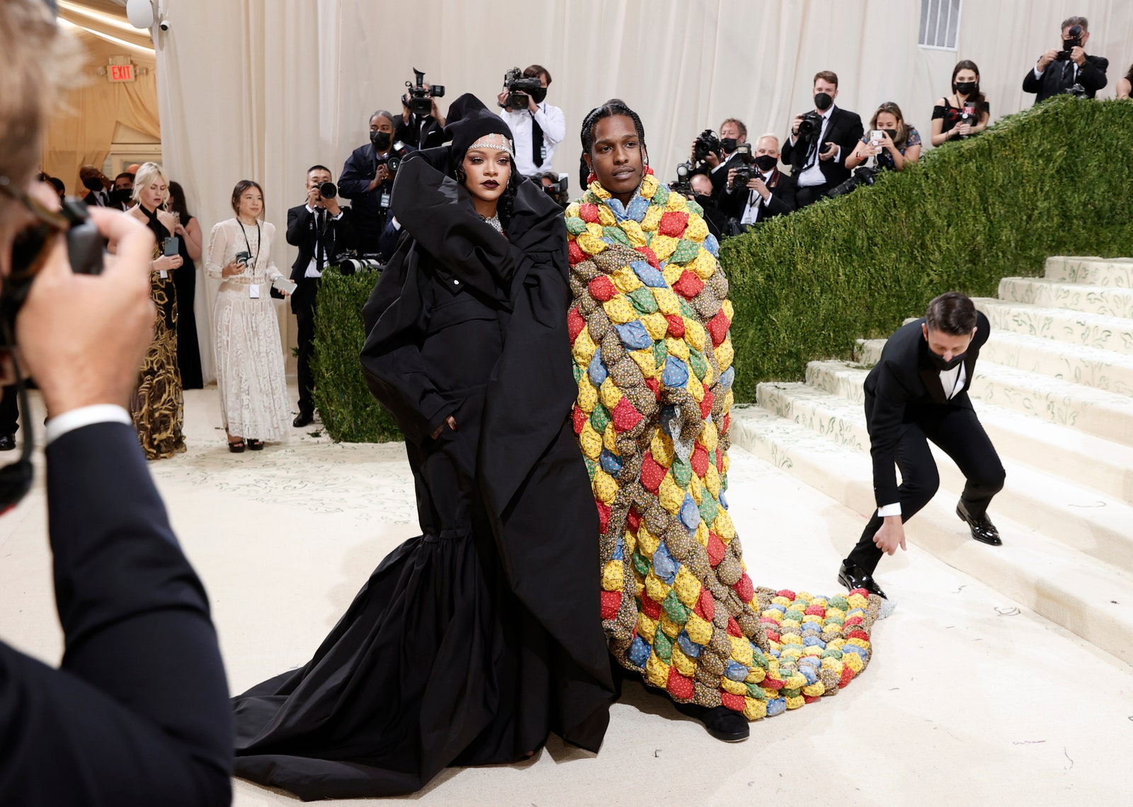NEW YORK NEW YORK SEPTEMBER 13 ASAP Rocky and Rihanna attend The 2021 Met Gala Celebrating In America A Lexicon Of...