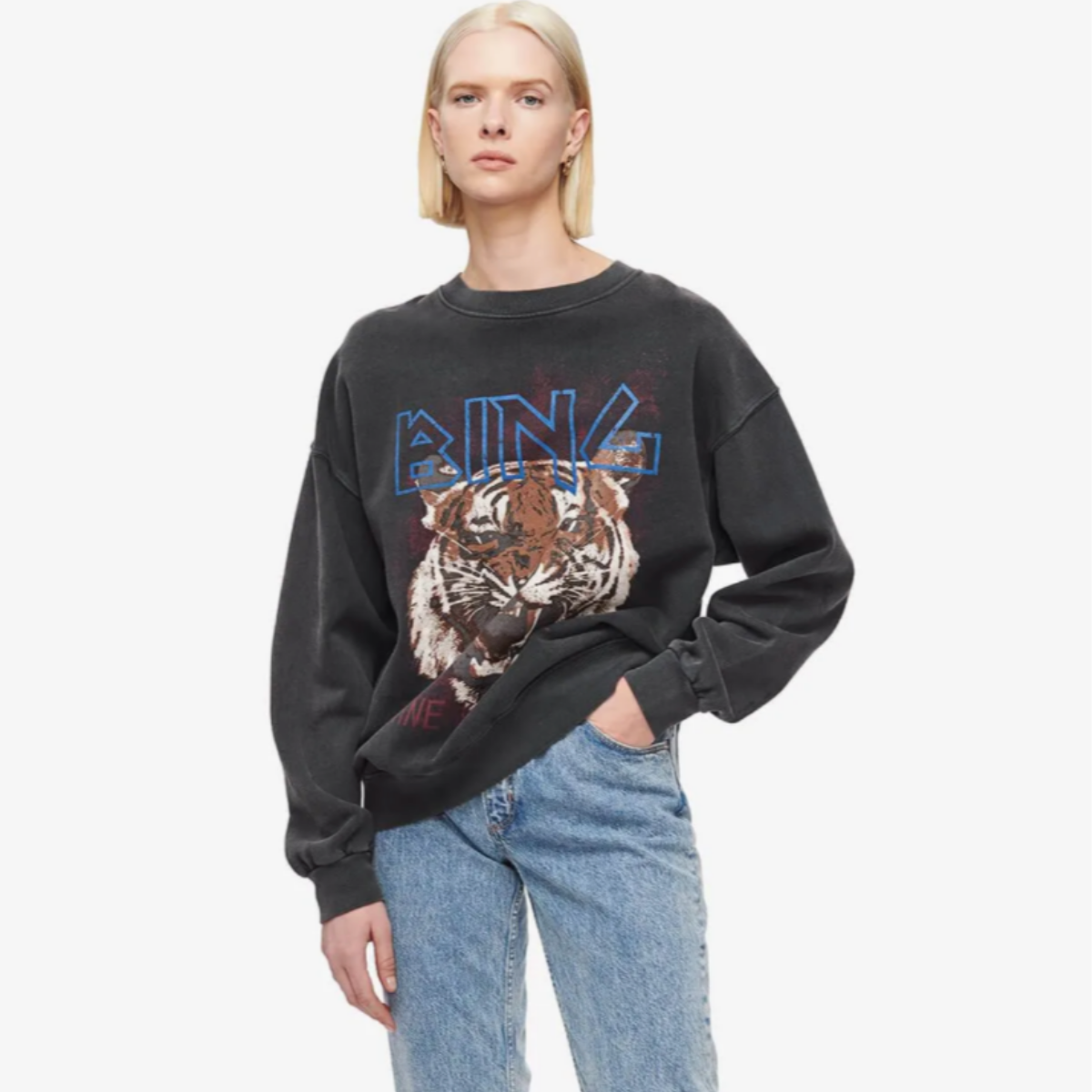 Anine Bing one-of-a-kind garment-dyed vintage-inspired crew neck graphic sweater