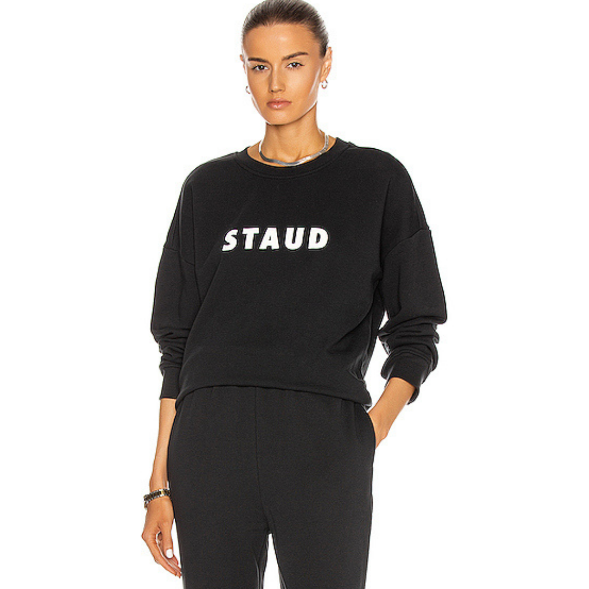 Staud classic cotton pullover sweatshirt with STAUD logo in contrast lettering
